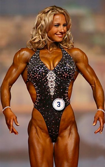 Julie Lohre on stage at the Arnold Classic IFBB Fitness Competition