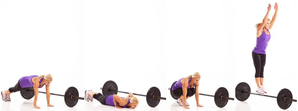 Burpee Over Barbell Lateral Barbell Burpee