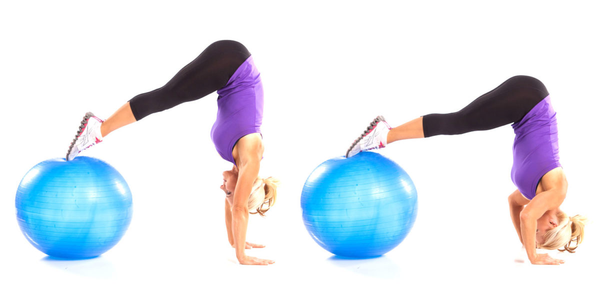 Inverted Hanstand Pushup with Ball