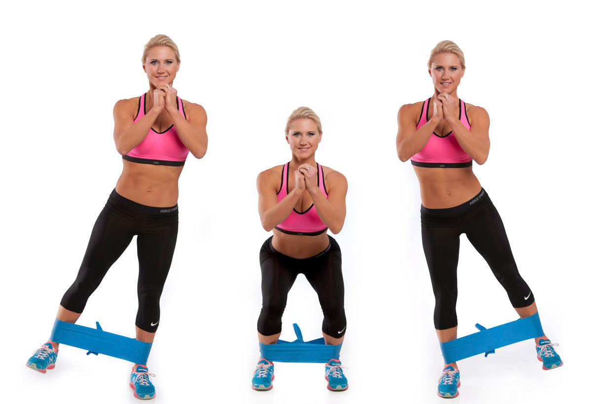 Banded Squats with Side Leg Raise Exercise