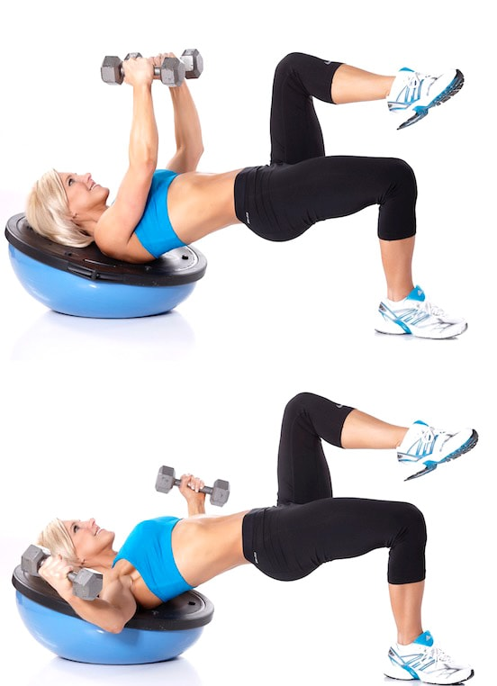 Dumbbell Flye with Single Leg Glute Lift