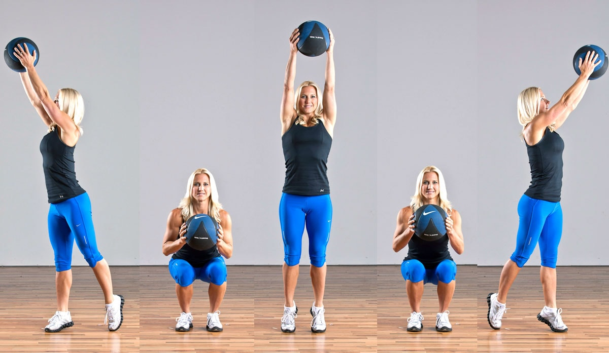 3 Way Med Ball Squat Exercise