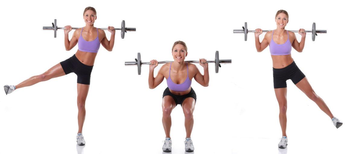 Barbell Squat with Side Leg Raise exercise demonstration