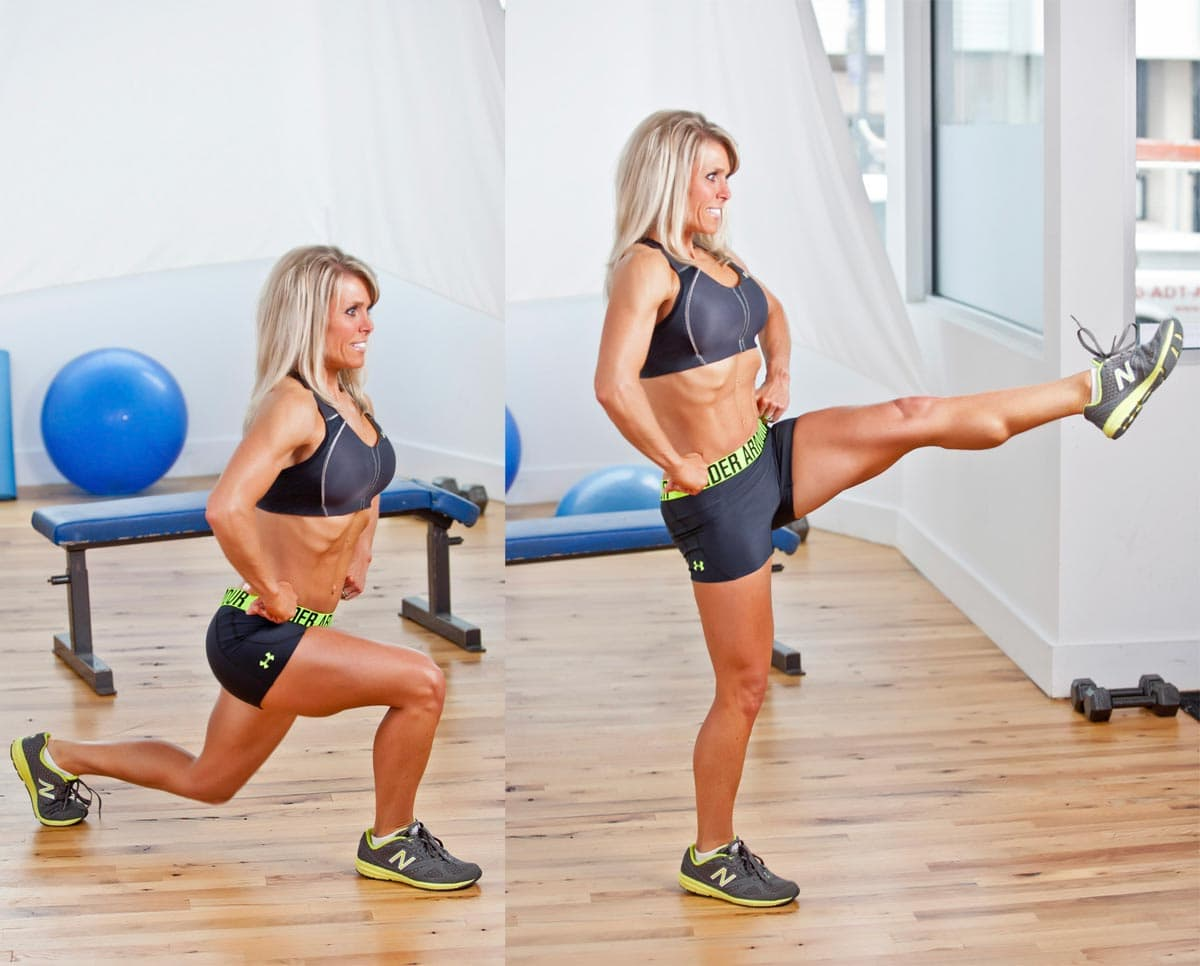 IFBB Figure Pro Dawn Reichley demonstrates a Lunge with Front Kick with Julie Lohre
