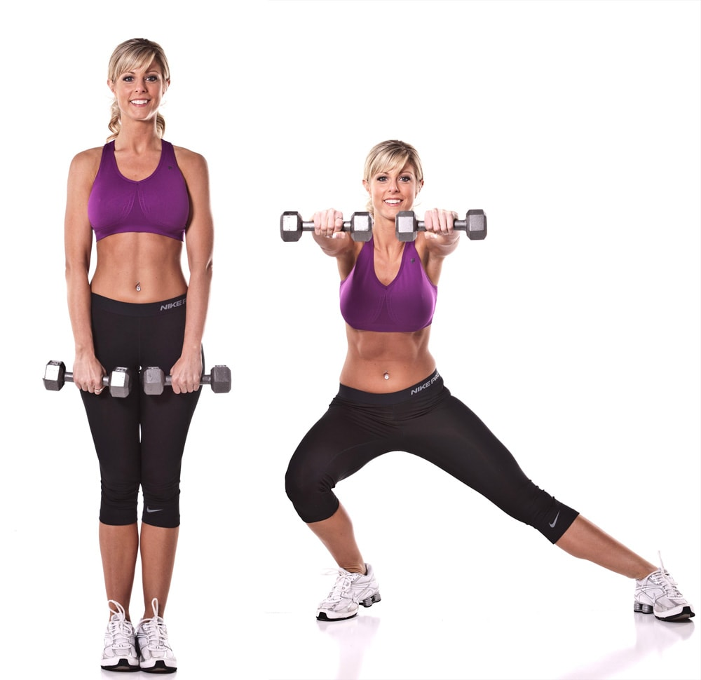 Side Squat Dumbbell Front Raise