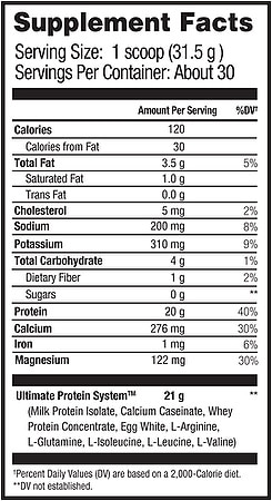 UMP Protein Nutritional Information Beverly International