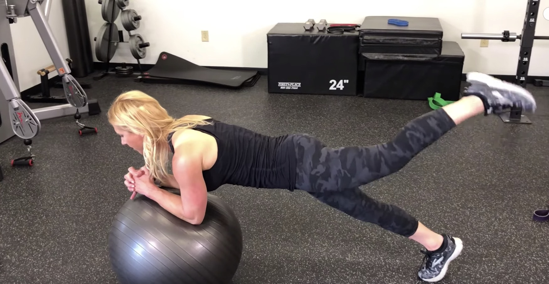 Stability Ball Plank Leg Lifts