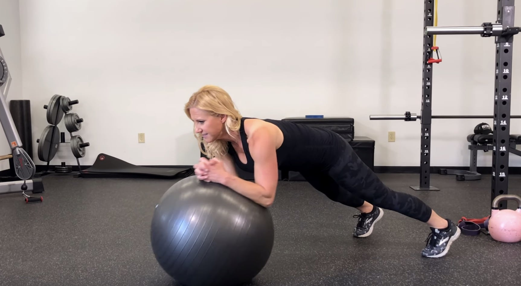 Stability Ball Arm Circles with Plank